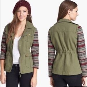 Jack by BB Dakota Green Boho Utility Style Jacket